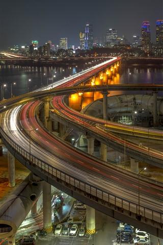iPhone Wallpaper South Korea, Seoul, city, night, highway, roads, bridge, river, lights