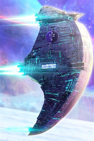 iPhone Wallpaper Spaceship, stars, space, sci-fi design