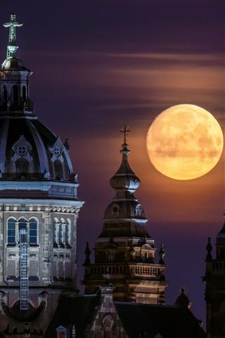 iPhone Papéis de Parede Igreja de São Nicolau, Amesterdão, Holanda, lua cheia, noite