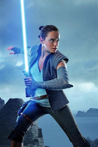 iPhone Wallpaper Star Wars: The Last Jedi, girl, laser sword