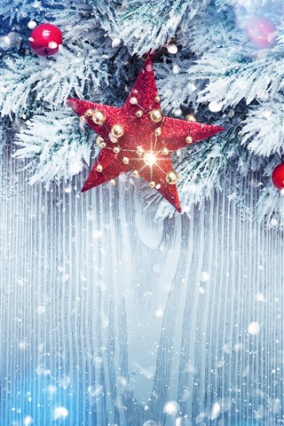 iPhone Wallpaper Stars, twigs, snow, Christmas balls, decoration, shine