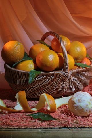 iPhone Wallpaper Still life, fruit, oranges, candles, fire