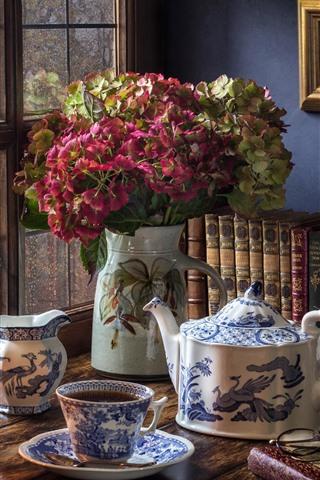 iPhone Wallpaper Still life, hydrangea, window, kettle, tea, books, lamp
