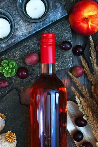 iPhone Wallpaper Still life, red wine, grapes, peach, pumpkin