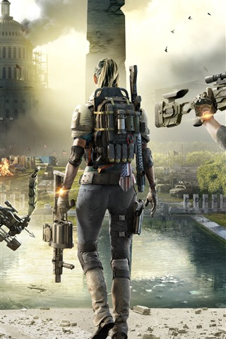 iPhone Wallpaper The Division 2, city, soldiers, PC game