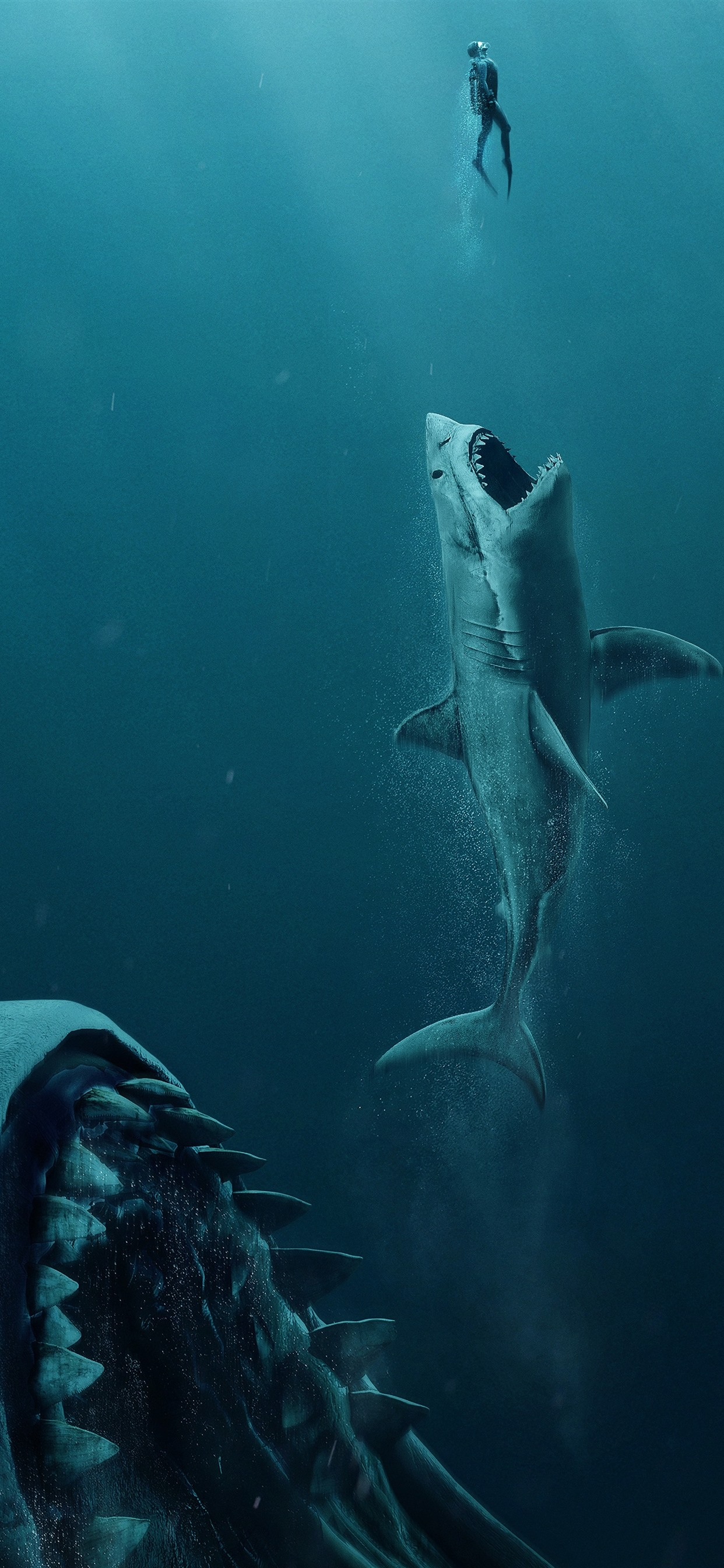 The Meg Shark Underwater 1242x2688 Iphone Xs Max Wallpaper