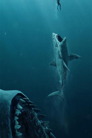 iPhone Wallpaper The Meg, shark, underwater