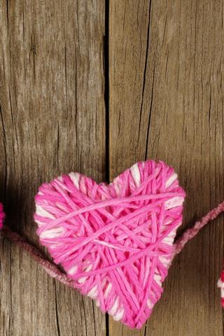 iPhone Wallpaper Three love hearts, wool thread