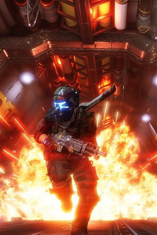 iPhone Wallpaper Titanfall 2, explosion, soldier, run