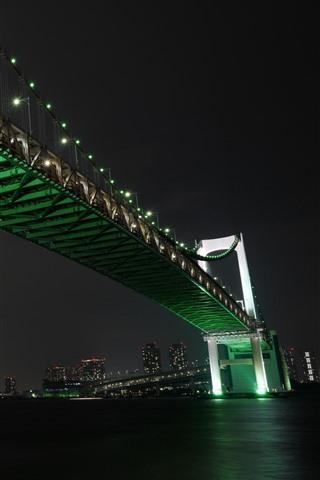 iPhone Wallpaper Tokyo, Japan, Rainbow Bridge, river, night, city