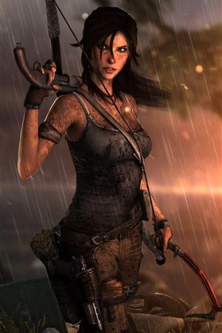 iPhone Wallpaper Tomb Raider, Lara Croft, rain, sunset, sea
