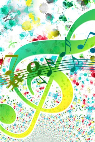 iPhone Wallpaper Treble clef, sheet music, colorful, creative picture