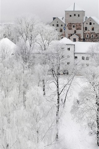 iPhone Wallpaper Turku in the winter, snow, trees, city, white world, Finland