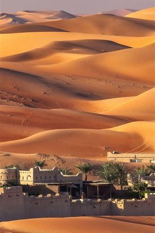 iPhone Wallpaper UAE, Abu Dhabi, houses, desert