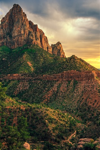 iPhone Wallpaper USA, Zion National Park, mountains, clouds, dusk