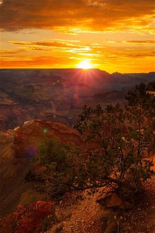 iPhone Wallpaper USA, canyon, rocks, clouds, sunset