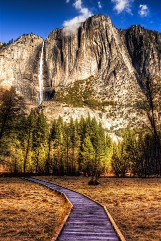 iPhone Wallpaper USA, park, mountains, trees, waterfall, HDR style