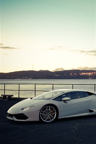 iPhone Wallpaper White and silver Lamborghini luxury sport cars, San Francisco, bridge, USA