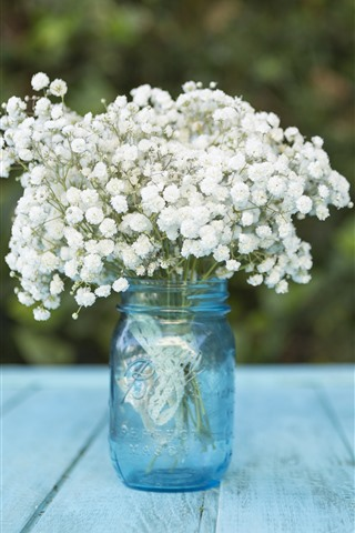 iPhone Wallpaper White little flowers, bouquet, bottle