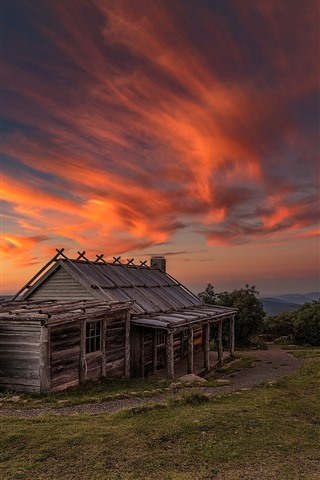 iPhone Wallpaper Wood house, red sky, clouds, sunset, Australia, Victoria