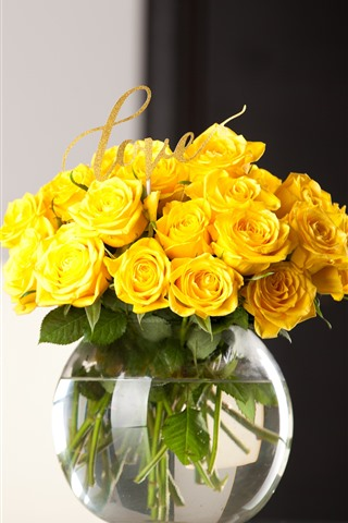 iPhone Wallpaper Yellow rose, vase, bouquet, gifts