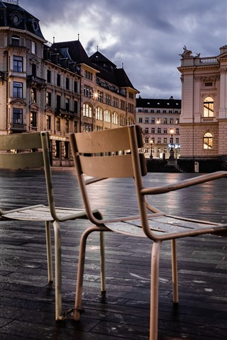 iPhone Wallpaper Zurich, Switzerland, chairs, lights, city, buildings