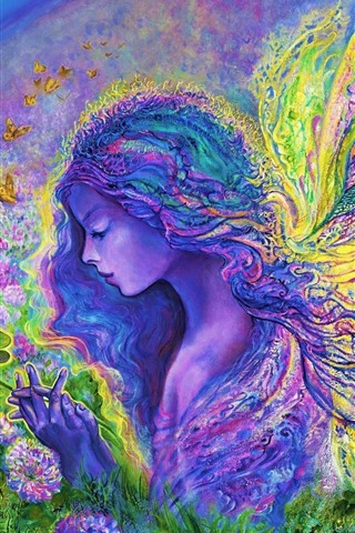 iPhone Wallpaper Art painting, colorful, butterfly angel girl