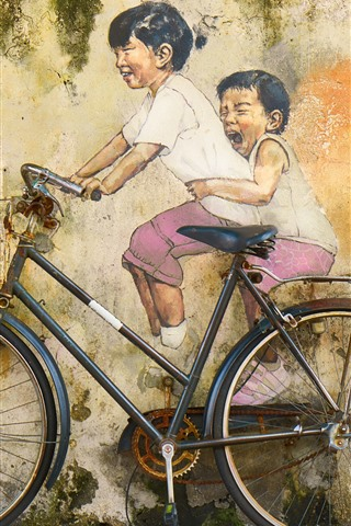 iPhone Wallpaper Art painting, wall, bike, childs