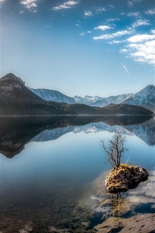 iPhone Wallpaper Austria, Altaussee, Styrian Lake, mountains, sunshine, blue sky
