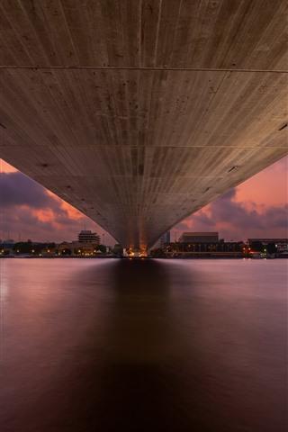 iPhone Wallpaper Bangkok, bridge bottom view, river, night, city