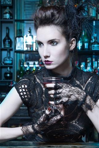 iPhone Wallpaper Bar, fashion girl, wine, lace