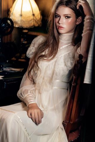 iPhone Wallpaper Beautiful girl, white skirt, book, lamp