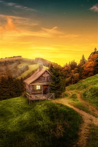 iPhone Wallpaper Beautiful nature landscape, house, trees, path, mountain, autumn