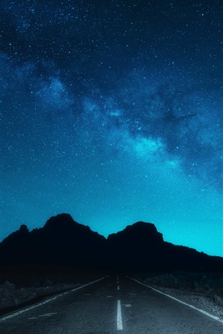 iPhone Wallpaper Beautiful night sky, starry, road