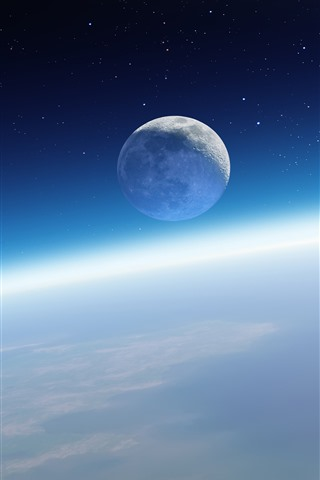 iPhone Wallpaper Beautiful space, Earth, moon