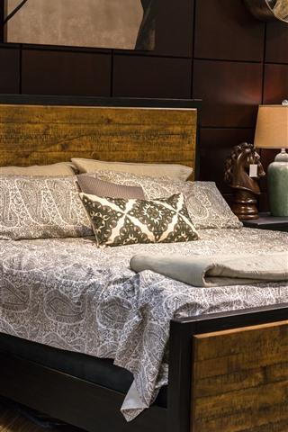 iPhone Wallpaper Bedroom, bed, pillow, lamps