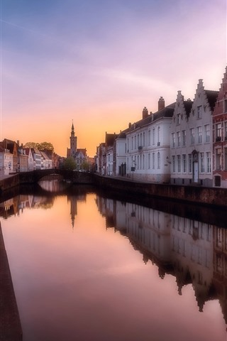 iPhone Wallpaper Belgium, Bruges, river, city, houses, dusk