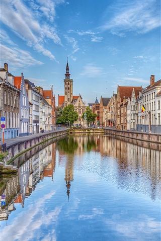 iPhone Wallpaper Belgium, Bruges, street, houses, river, city