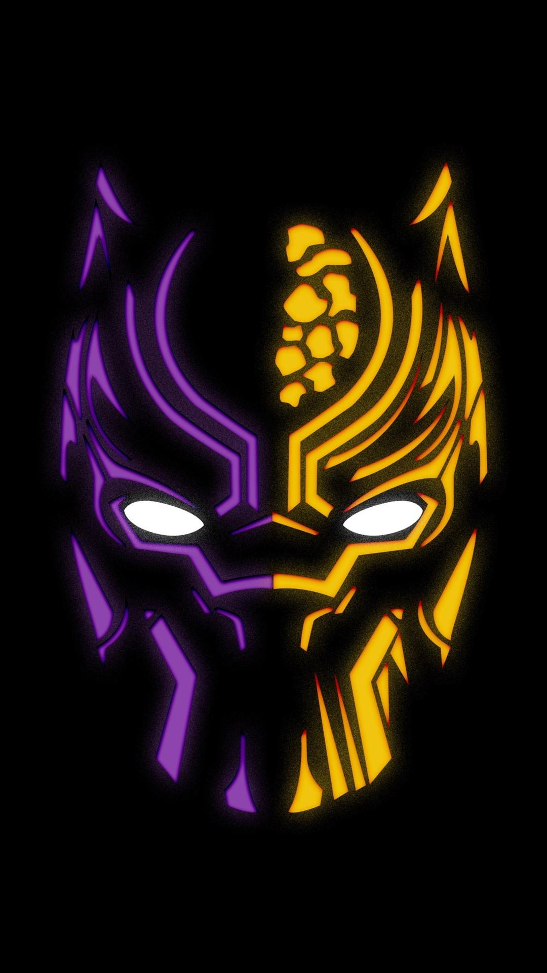 Black Panther Logo Black Background 1080x1920 Iphone 8 7 6