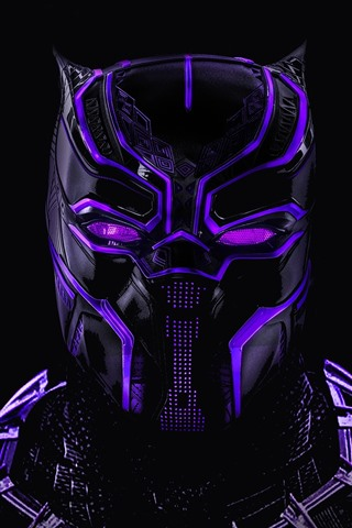 iPhone Hintergrundbilder Black Panther, mask, marvel hero