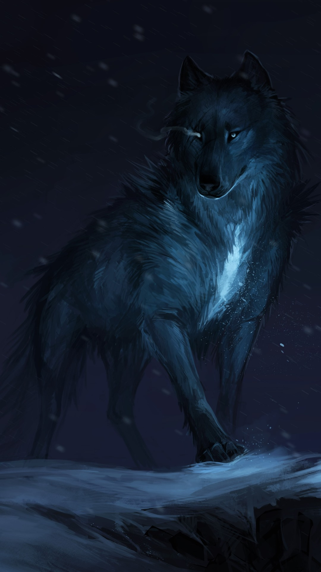 Black Wolf Night Art Picture 1242x2688 Iphone Xs Max Wallpaper
