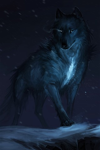 iPhone Wallpaper Black wolf, night, art picture
