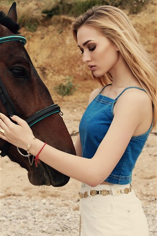iPhone Wallpaper Blonde girl and brown horse, summer