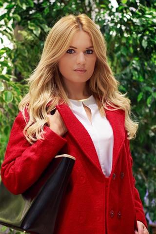 iPhone Wallpaper Blonde girl, red coat