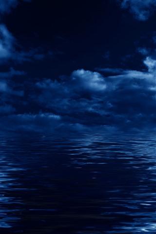 iPhone Wallpaper Blue sea, clouds, night