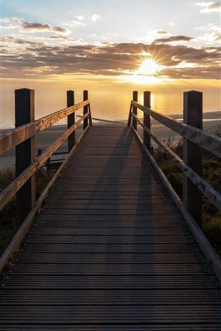 iPhone Wallpaper Bridge, sea, beach, sunrise, morning