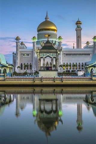 iPhone Wallpaper Brunei, Royal mosque, river, boat