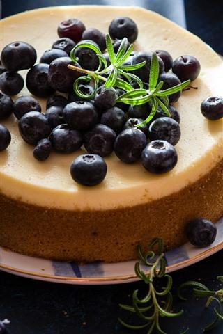 iPhone Wallpaper Cake, blueberries, fork, scissors