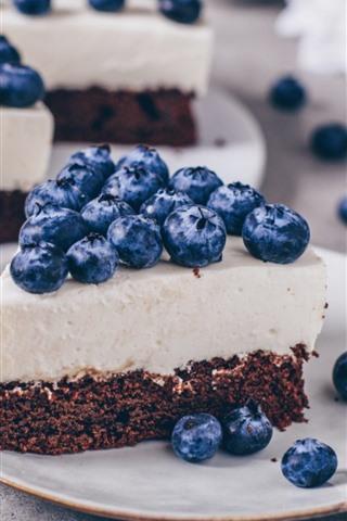iPhone Wallpaper Cake, chocolate, cream, blueberries