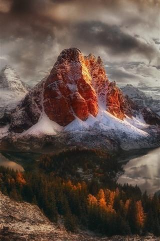 iPhone Wallpaper Canada, British Columbia, mountains, snow, sunset, sun rays, lake, winter